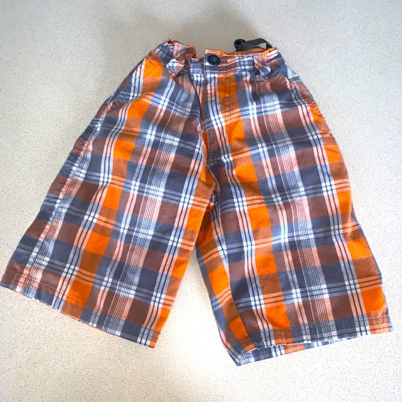 5/$15! Beverly Hills Polo Club plaid orange shorts